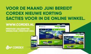 Voor de maand juni bereidt Cordex nieuwe kortingsacties in de online winkel